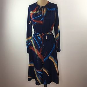 Vtg 60s 70s Abstract Print Brush Stroke Dress S